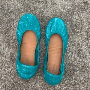 Tieks blue patent shoes in great shape!